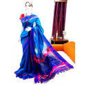 Swarupini Dark Blue Handloom Corporate Saree with Contrast Blouse