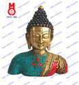 Buddha Bust W/Leaf Design & Stones & Wire Beed Statue
