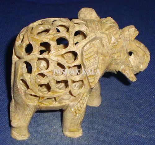 Stone And Marble Animal Figure Undercut Elephant