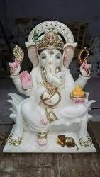 Pure White Fancy Marble Ganesh Statue