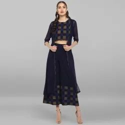 Navy Blue Poly Crepe Top With Palazzo And Jacket(SET098)
