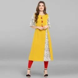 Yellow Poly Crepe Kurta(JNE2288)