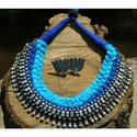 Blue And Silver Silk Thread Designer Necklace Set