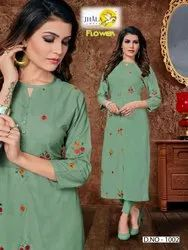 Flower-Jhala Impex Street Long Kurtis Side Cut