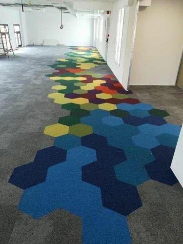 Hexagonal Nylon Carpet Tiles Thickness