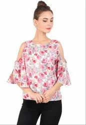 Casual 3/4th Sleeve Multicolor Printed Crepe Top