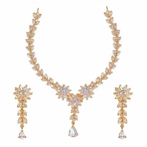 White And Golden White Stone Necklaces Set b5385033cf