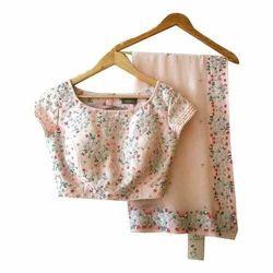 Peach Net Designer Ethnic Sarees