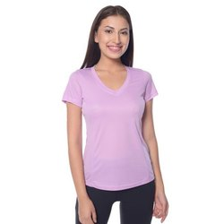 Plain Cotton V-Neck Lavender Tee T-Shirt