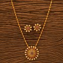 Rubygreen Matte Gold Plated South Indian Pendant Set 201067, Size: Length = 16 Inch