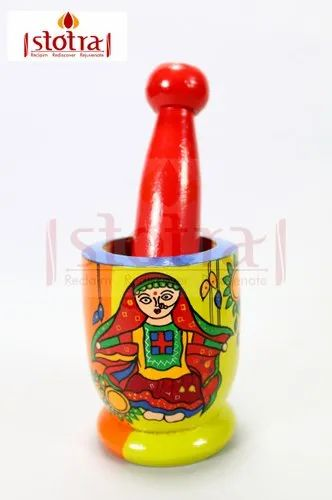 Hand Painted Wooden Mortar Pestle