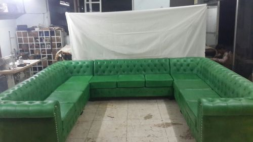 Green Chesterfield Leather Sectional Sofa | ID: 14852613088