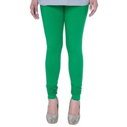 Cotton Churidar Ladies Moss Green Leggings, Size: S,M and L