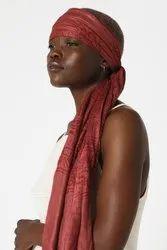 雌性人造丝Kali Mai Kariya黑暗的色调印花围巾