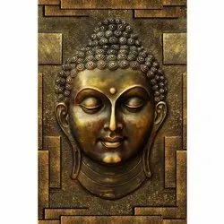 Matte Brown Buddha Wall Mural, For Home Decor