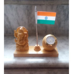 Wooden Ganesha with Flag Home Decor Gift Set