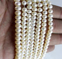 Pearl Button Beads, White Pearl Beads, Size: 6 To 6.5 Mm Approx