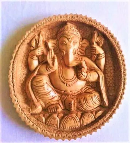 Wooden Carving Plate Ganesh Statue