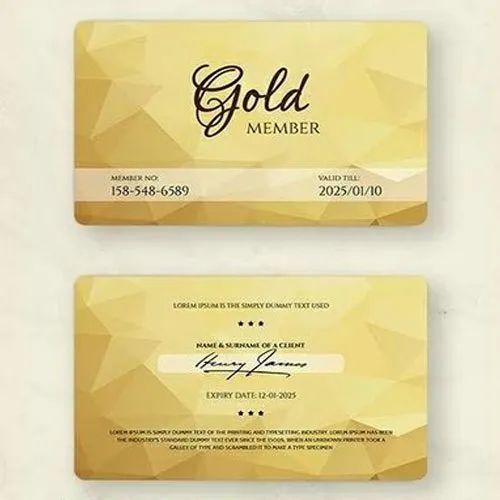 Rectangular Golden Membership Cards, Size: 54 X 86 Mm
