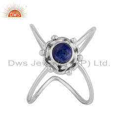 Lapis Lazuli Gemstone 925 Silver Designer Oxidized Stackable Rings
