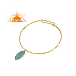 Aqua Chalcedony Gemstone Silver Gold Plated Sleek Bangles