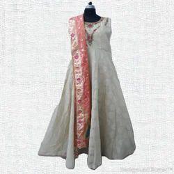 Silver Party Wear Silk Anarkali Suits