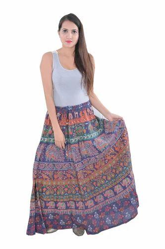 205627223 Women Cotton Indian Animal Round Mandala Rapron Skirts, Rs 220 ...