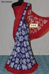 ikat Cotton Ladies Saree, Hand Made, 6.3 m (with blouse piece)