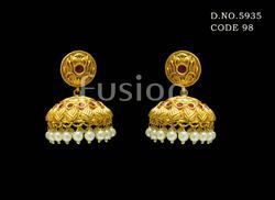Traditional Antique Matt Finish Ruby Wedding Earrings