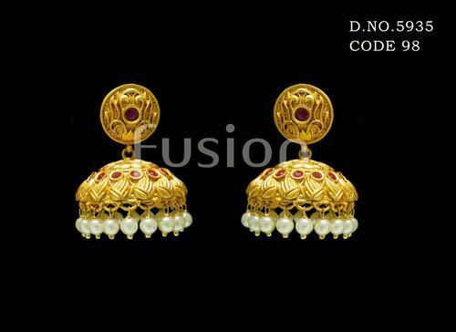 ce0896526 Fusion Traditional Antique Matt Finish Ruby Wedding Earrings, Rs 490 ...