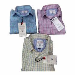 Mens Cotton Regular Fit Check Shirt, Size: M, L & XL