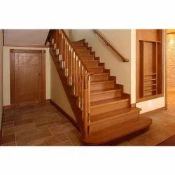 Brown Teak Wood Modular Wood Staircase