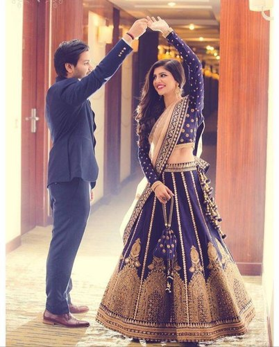 9201c8339a Navy Blue Color Embroidered Attractive Wedding Wear Bridal Lehenga:RS228