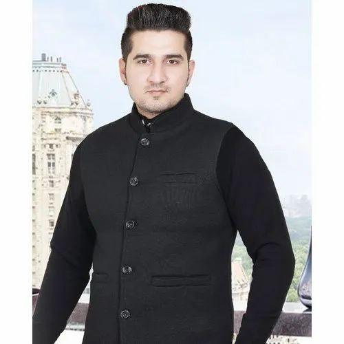 Cotton Blend Casual Wear Mens Black Nehru Jacket, Size: L-xxl