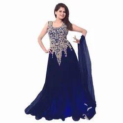 Ladies Round Neck Blue Net Gown, Size: S-XL