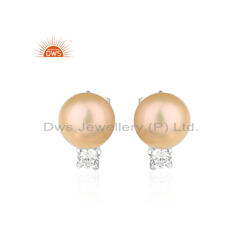 DWS Anniversary Pink Pearl Gemstone White Rhodium Plated Silver Earrings, Shape: Round