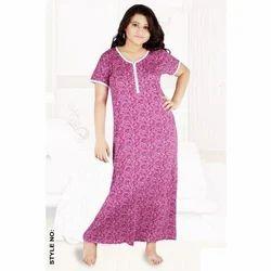 Full Length Half Sleeve Printed Hosiery Nighty, Size: Large