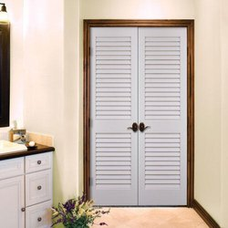 White Hinged Louvered Double Door, For Home