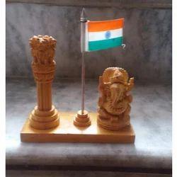 Wooden Ashok Stambh With Ganesha Statue