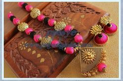 presye Pink And Black Peacock Design Necklace Set With Earrings