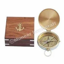 Brown Brass Compass Wooden Box