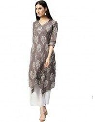 Women Grey Ethnic Motifs A-Line Cotton Kantha Kurta