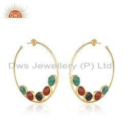 Natural Multi Color Onyx Gemstone Silver Gold Plated Hoop Earrings