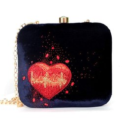 Hand Embroidered Designer Crystal Heart Clutch