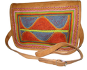 Embroider Flap Leather Messenger Bag