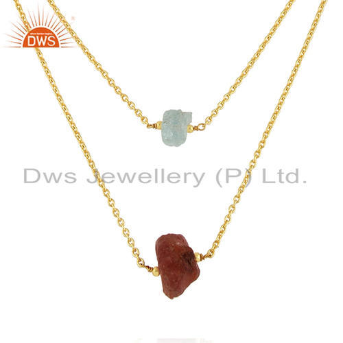 DWS 18 Inch Sun Stone Aquamarine Womens Gold Plated Silver Necklace