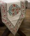 Cotton White Jaipuri Hand Block Printed Table Runner