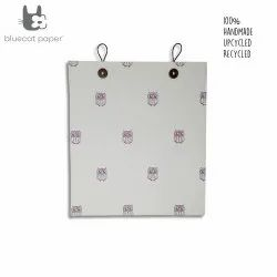 Eco friendly and unique gift bag with buttons - white paper and light mauve owls print