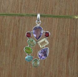 925 Sterling Silver Amethyst Multi Gemstone Pendant Jewelry