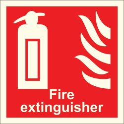 Rectangular Red Fire Extinguisher Signages, For Industrial, Dimension: 200X200